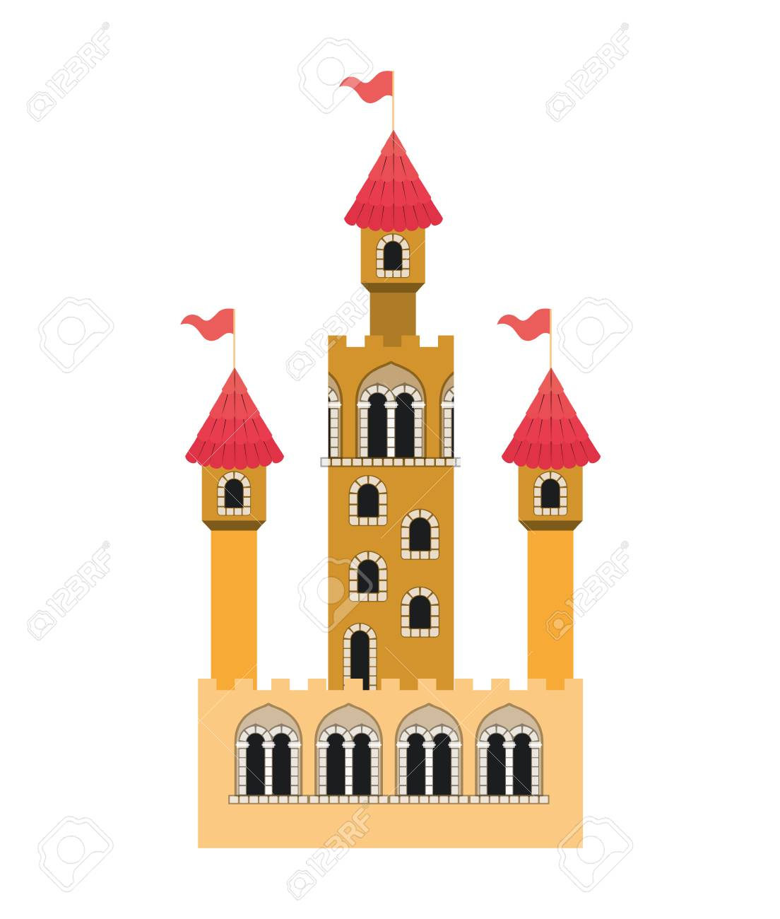 Medieval Castle With Flags Vector Illustration Design Royalty Free