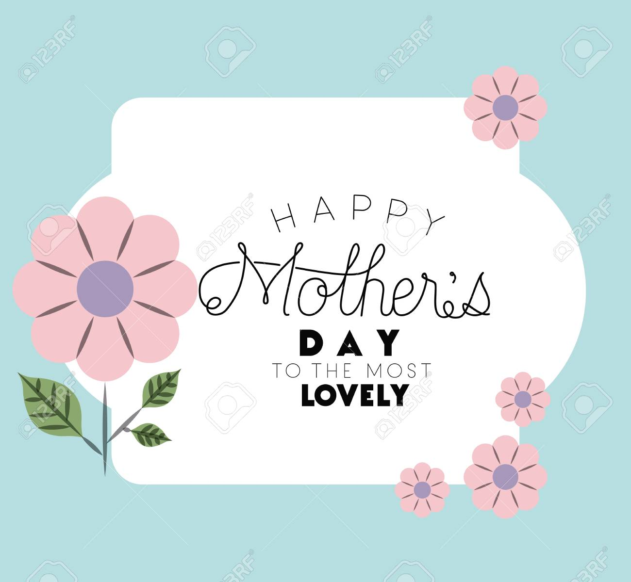 Happy Mothers Day Frame With Flowers Vector Illustration Design ...