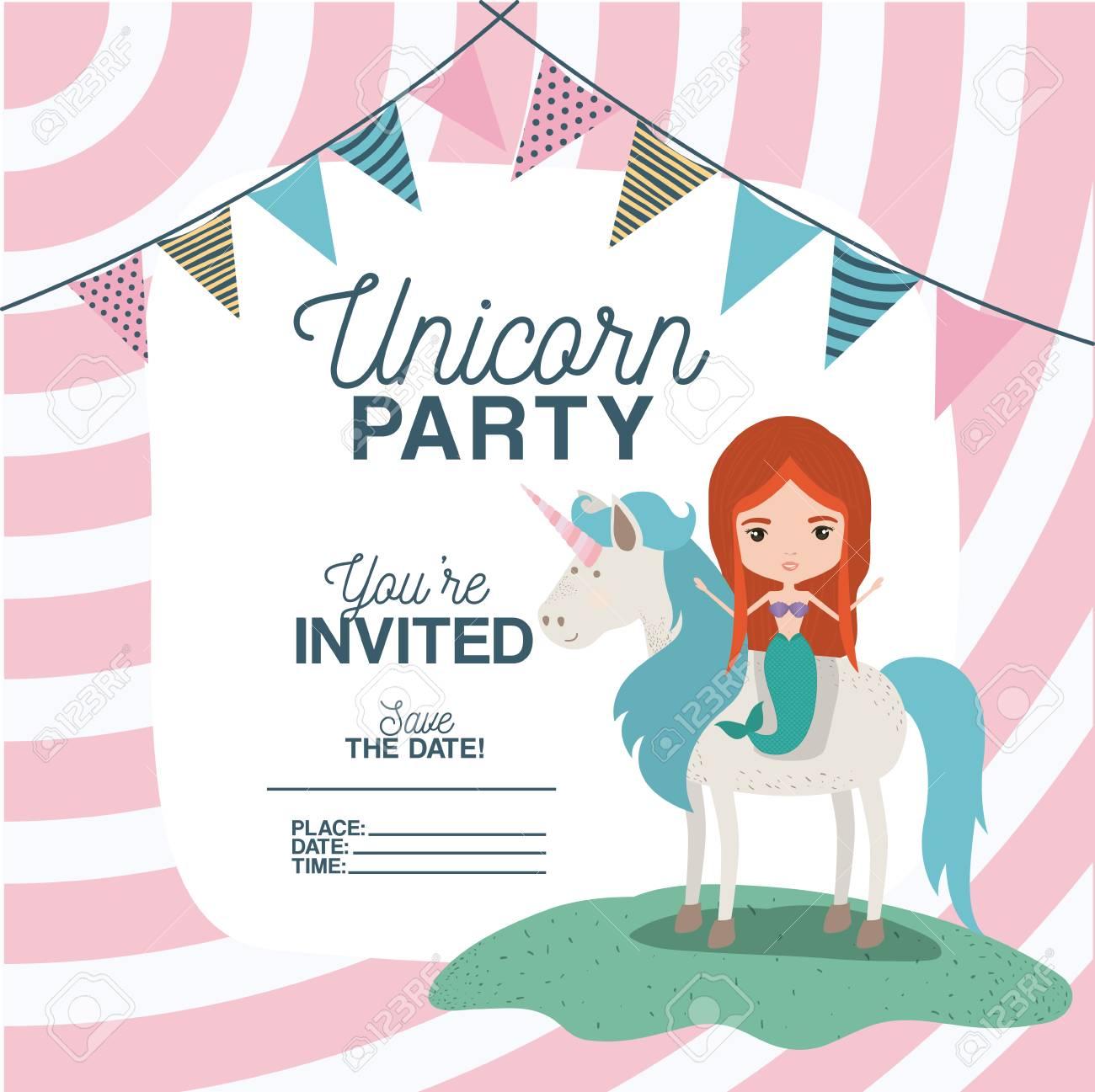 Sirena Con Unicornio Tarjeta De Invitación Ilustración Vectorial De Diseño
