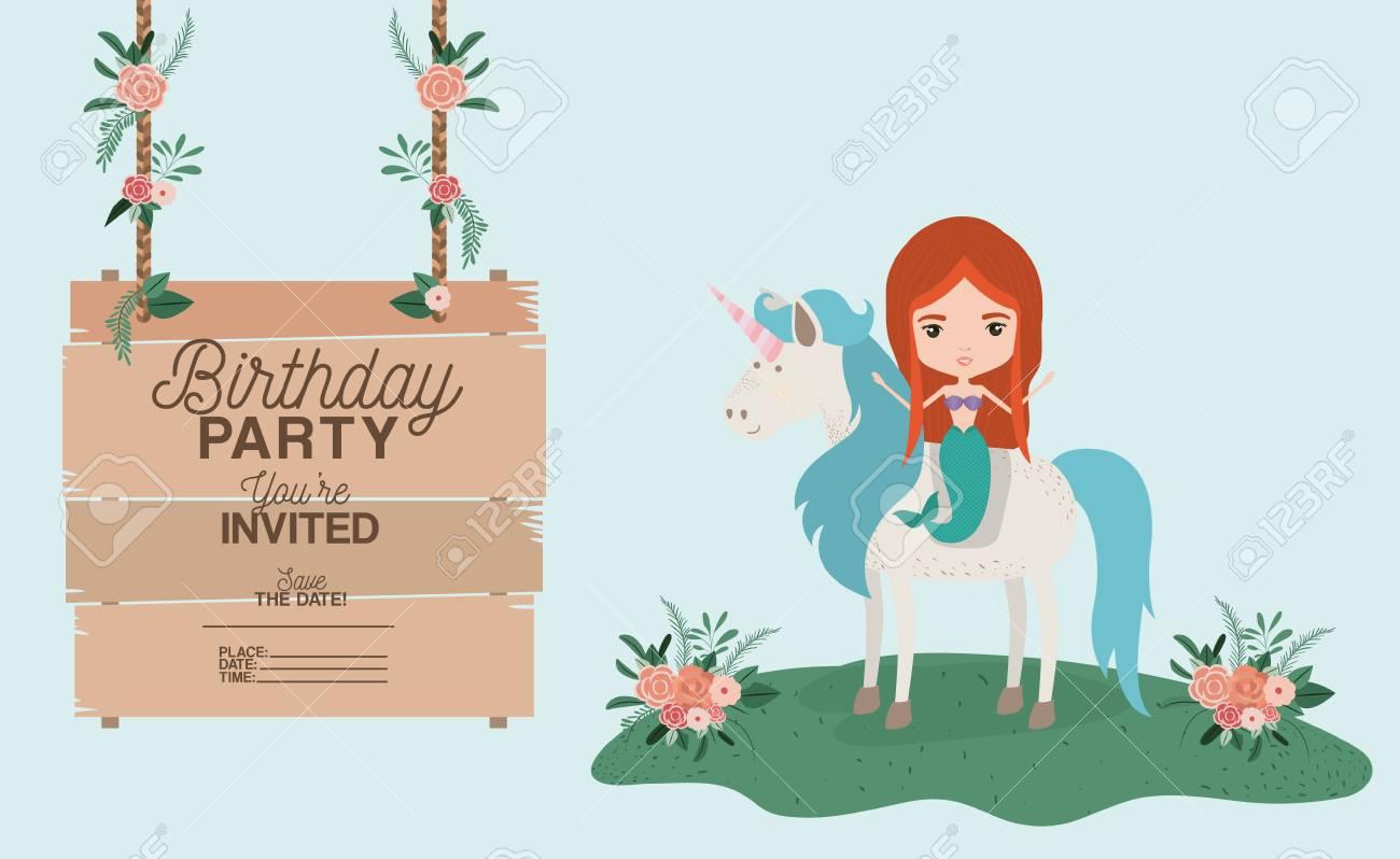 Sirena Con Unicornio Y Tarjeta De Invitación De Madera Ilustración Vectorial