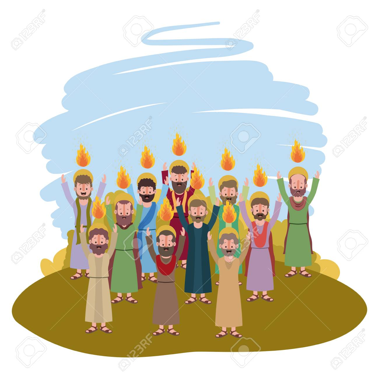 Apostles group Pentecost in the camp vector illustration design. - 100131671