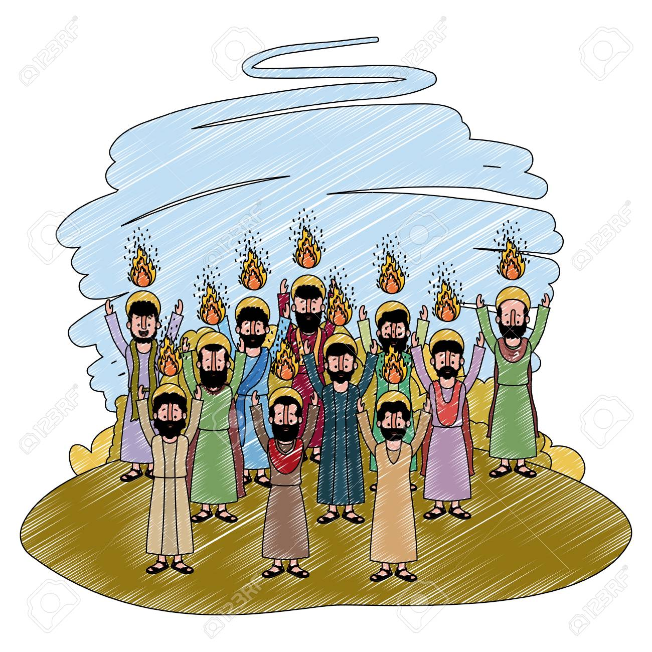 Apostles group pentecost in the camp vector illustration design. - 100591091