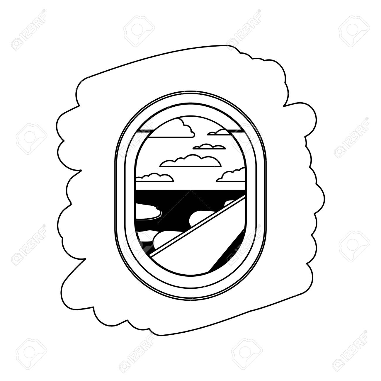 Airplane Window With Exterior View Vector Illustration Design
