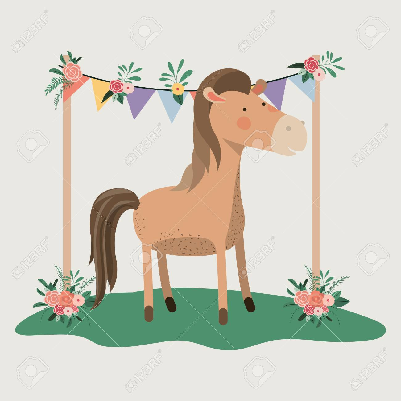 Baby Shower Card With Cute Horse Vector Illustration Design Royalty Free Cliparts Vectors And Stock Illustration Image 112238351