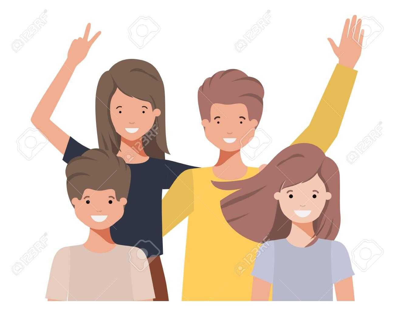 family waving avatar character vector illustration design - 110022779