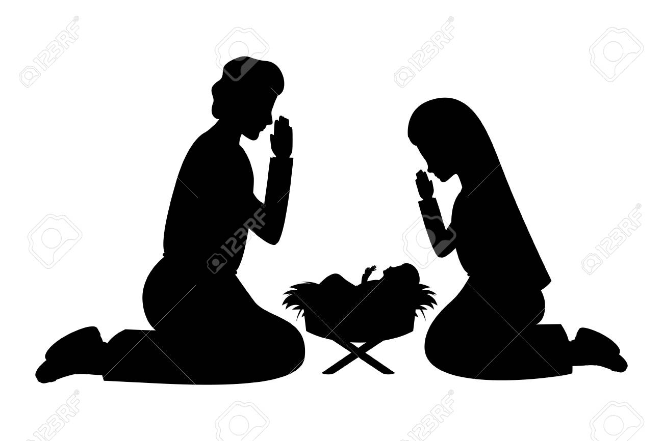 holy family silhouettes manger characters vector illustration design - 110166812