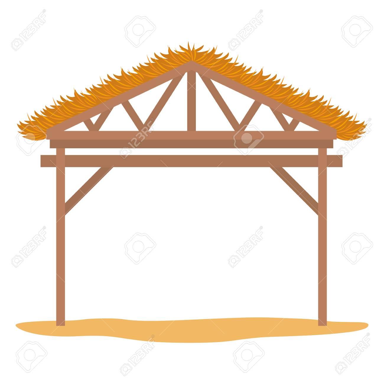 wooden stable manger icon vector illustration design - 110139804
