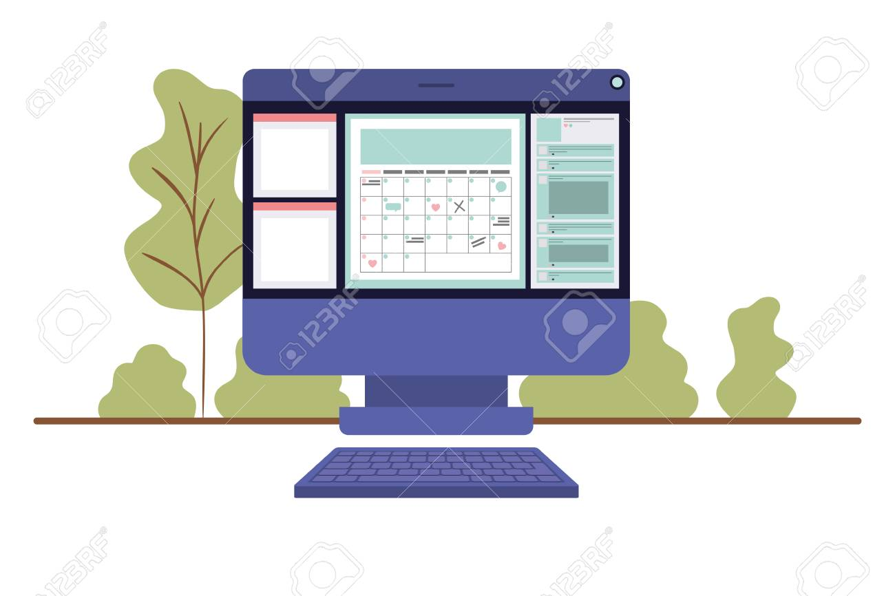 computer screen with calendar isolated icon vector illustration design - 110533814