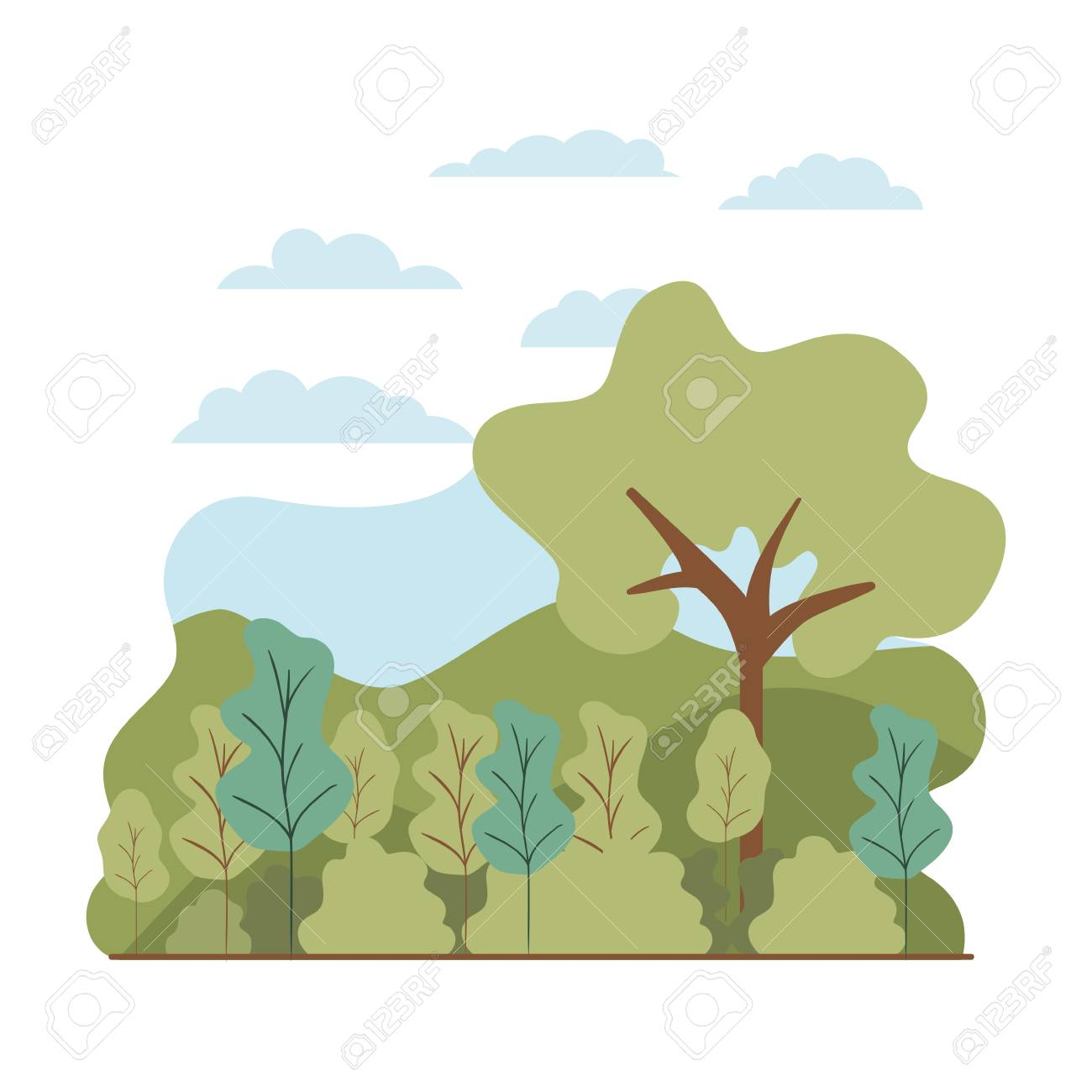 trees plant with landscape isolated icon vector illustration desing - 127692444
