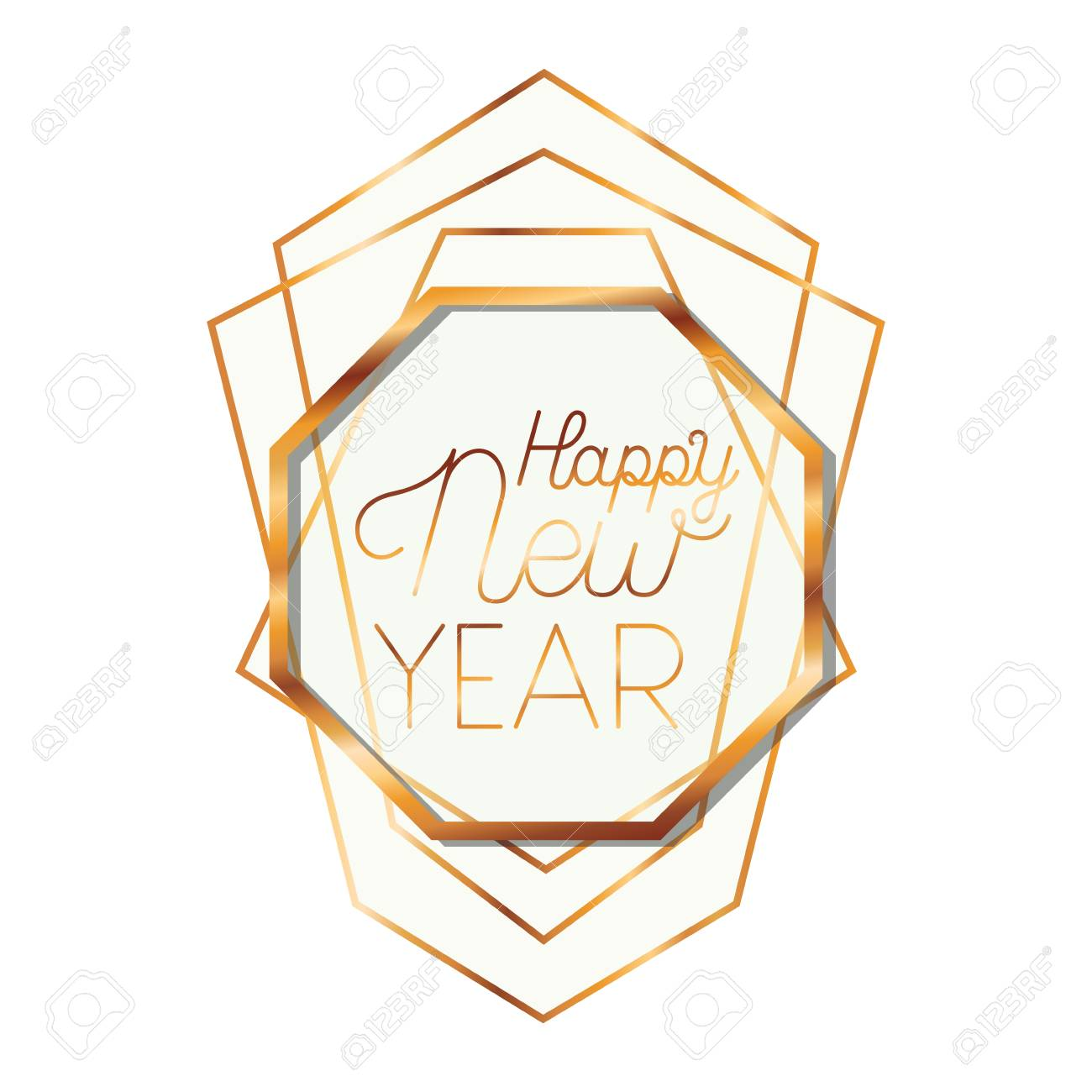 golden frame with label happy new year vector illustration desing stock vector 112754382