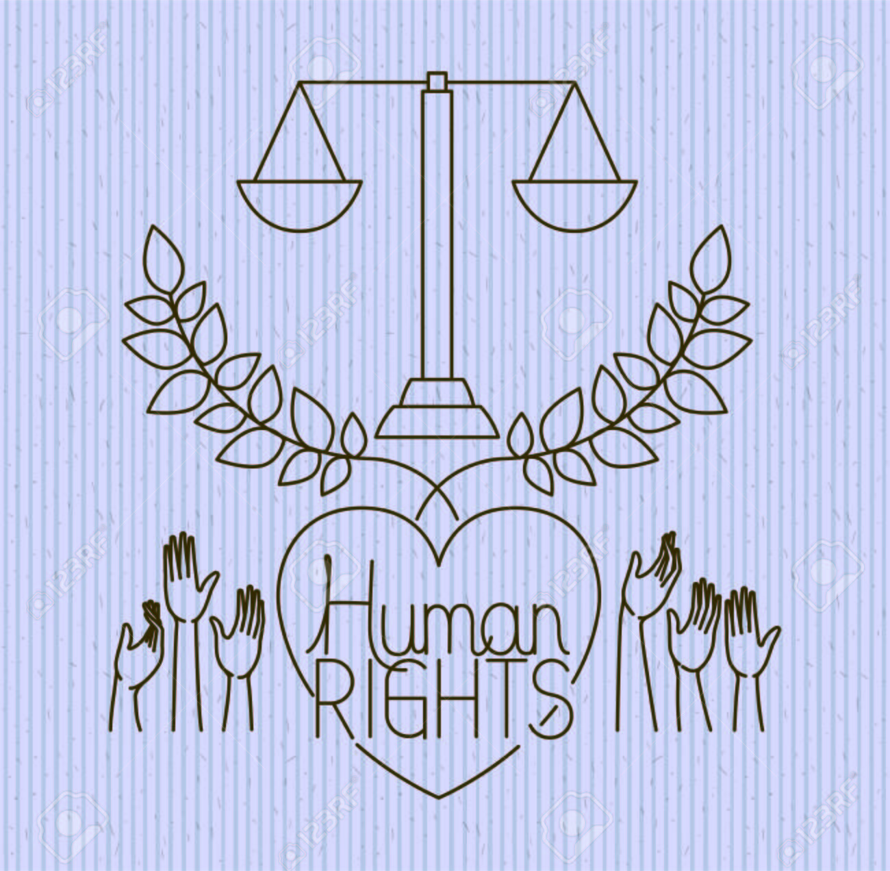 Hand With Heart Human Rights Drawns Vector Illustration Design