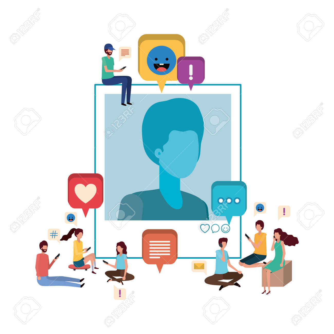 group of people with instant photo of man character vector illustration desing - 126237641