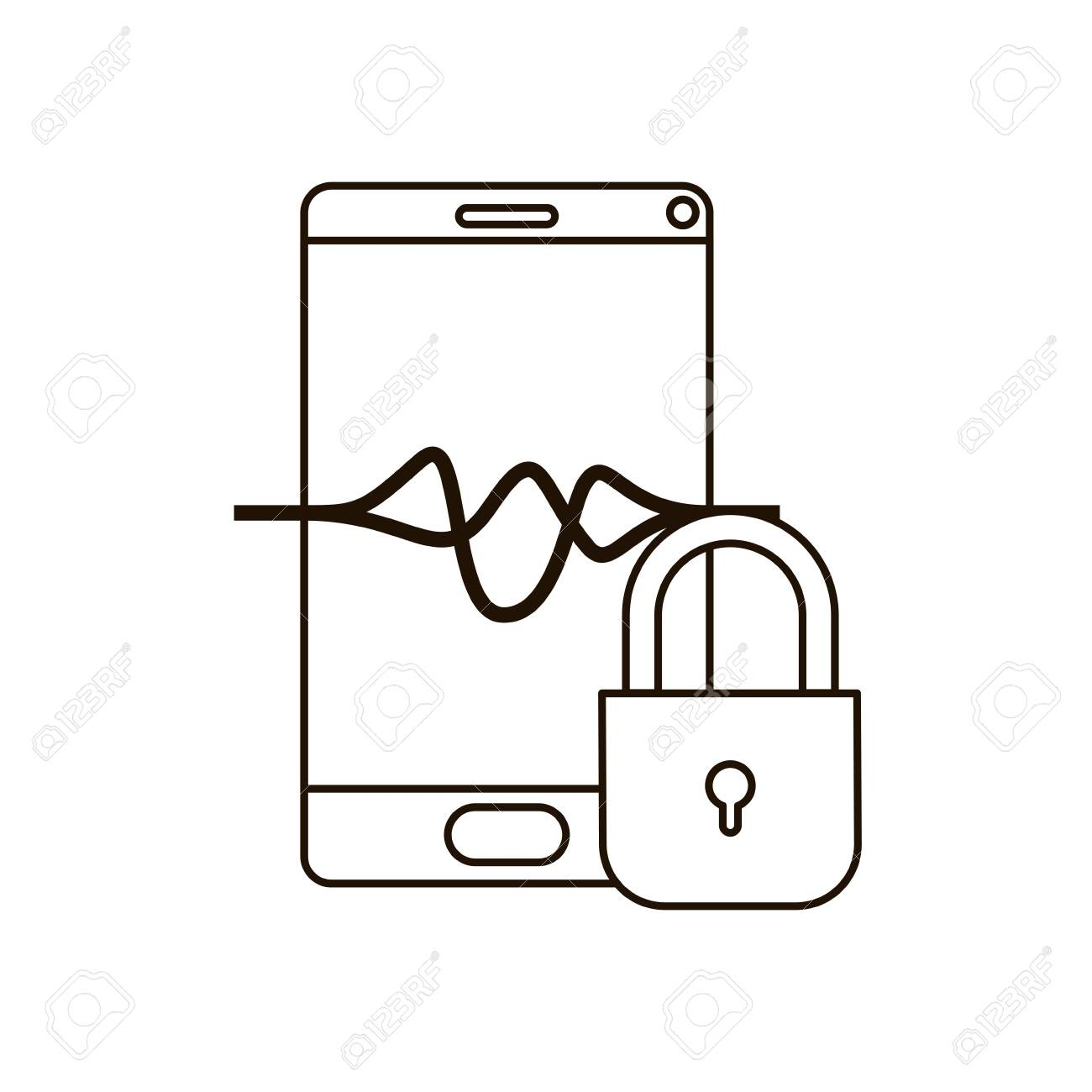 smartphone device with padlocked icon vector illustration design - 118869318