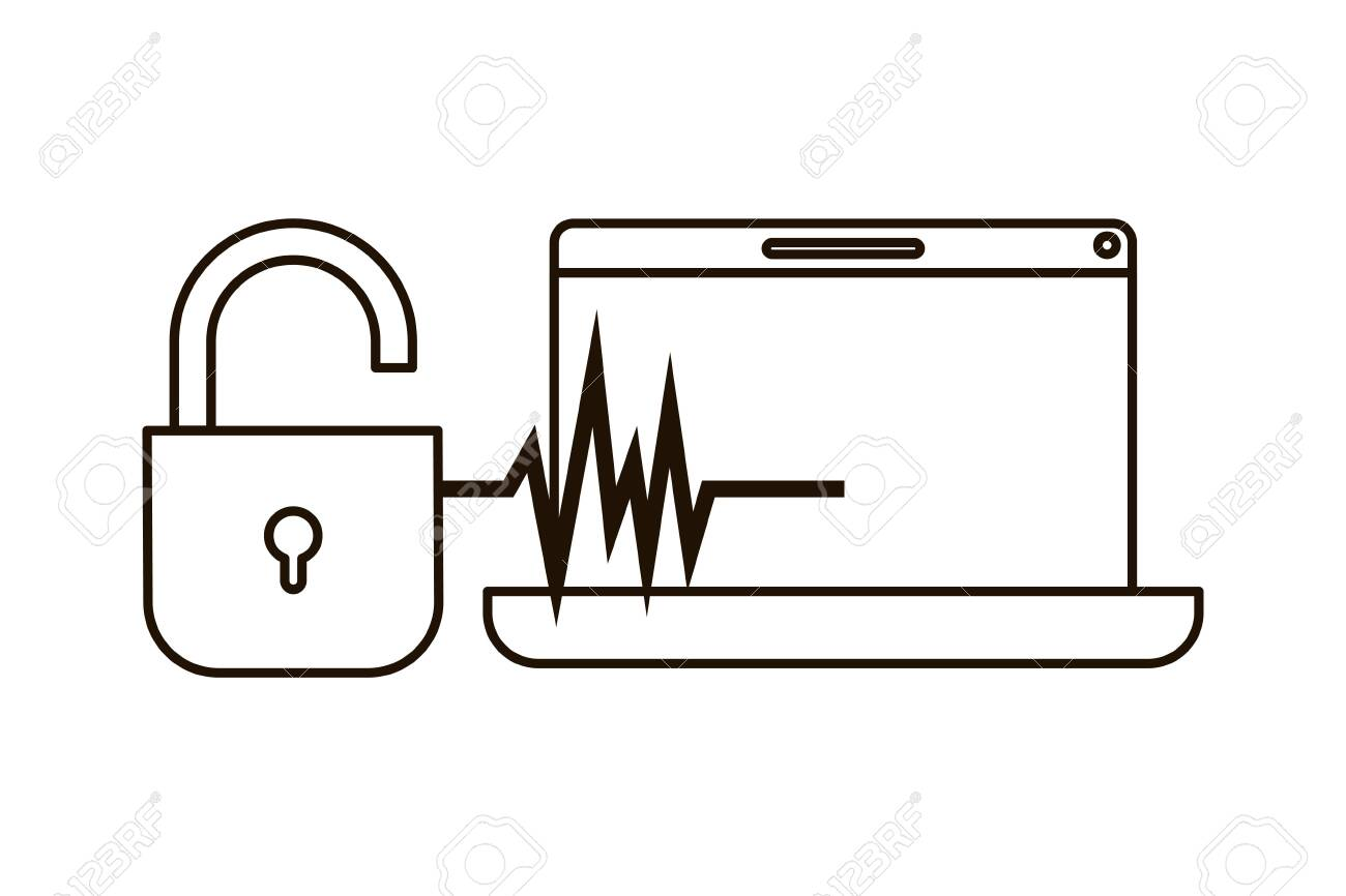 laptop with padlocked icon vector illustration design - 119322123