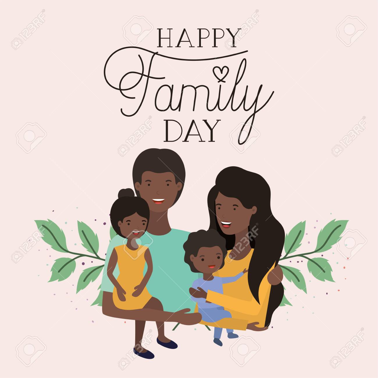 family day card with black parents and kids leafs crown vector illustration design - 123789637