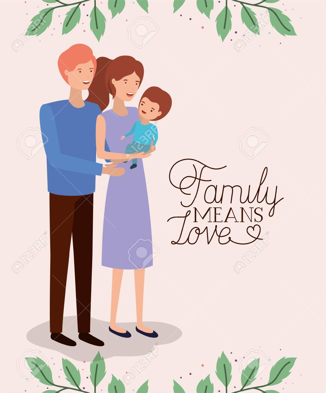 family day card with parents and son leafs crown vector illustration design - 123789756