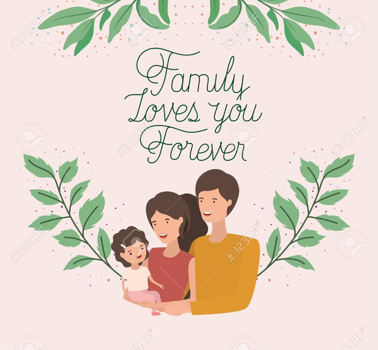 family day card with parents and daughter leafs crown vector illustration design - 122929576