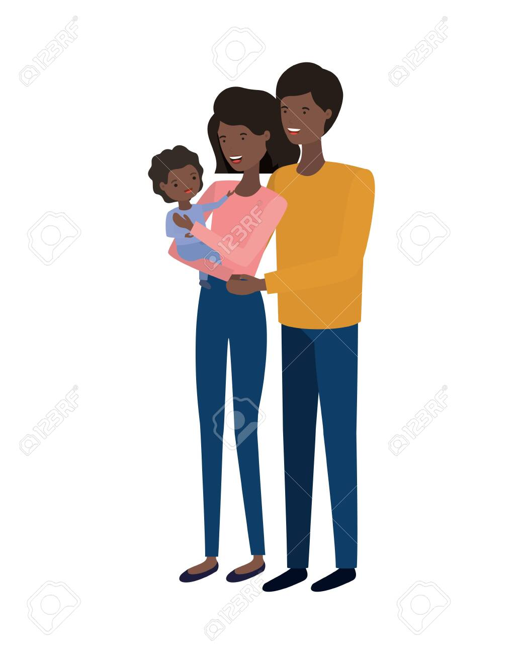 couple of parents with son avatar character vector illustration design - 122668136