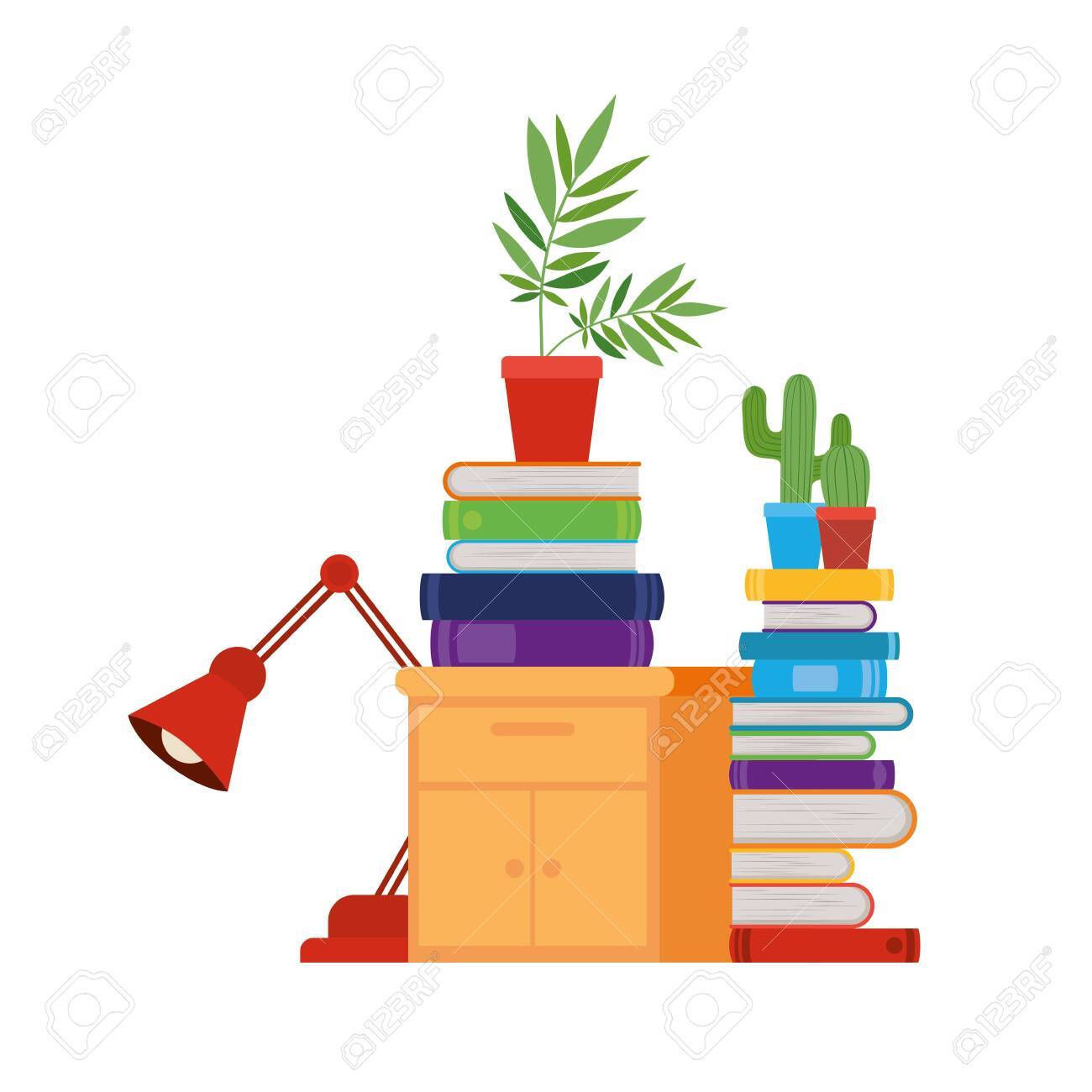 wooden drawer with stack of books in white background vector illustration design - 124199305