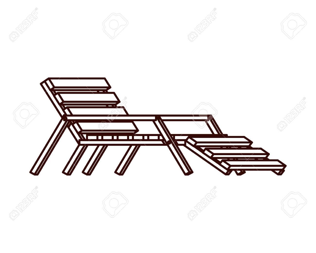 beach chair for sunbathing on white background vector illustration design - 124699803