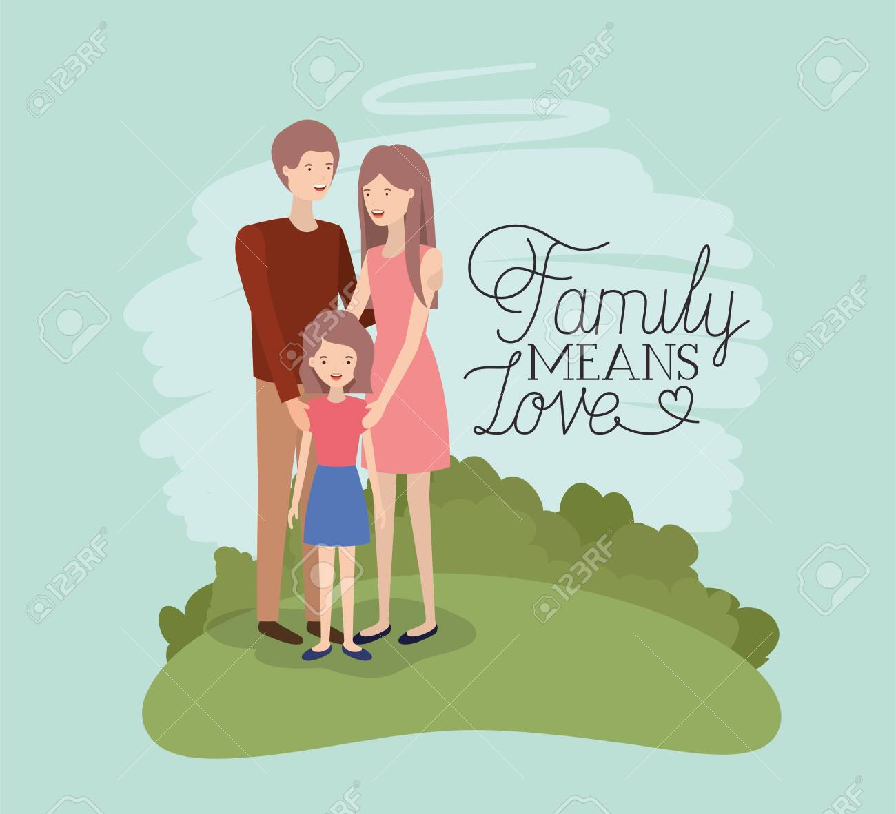 family day card with parents and daughter in the field vector illustration design - 126192546
