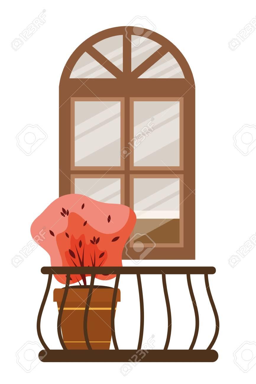 autumn plant in ceramic pot and balcony seasonal scene vector illustration design - 130687653