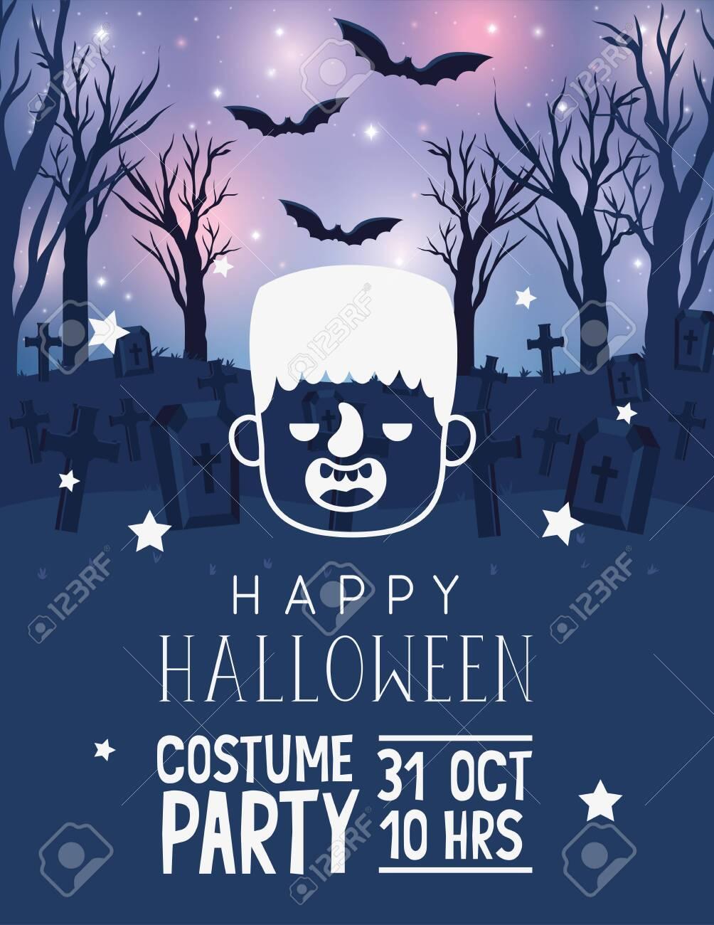 Happy halloween card with cartoon frankenstein head over graveyard glowing background with bats, vector illustration - 132615119