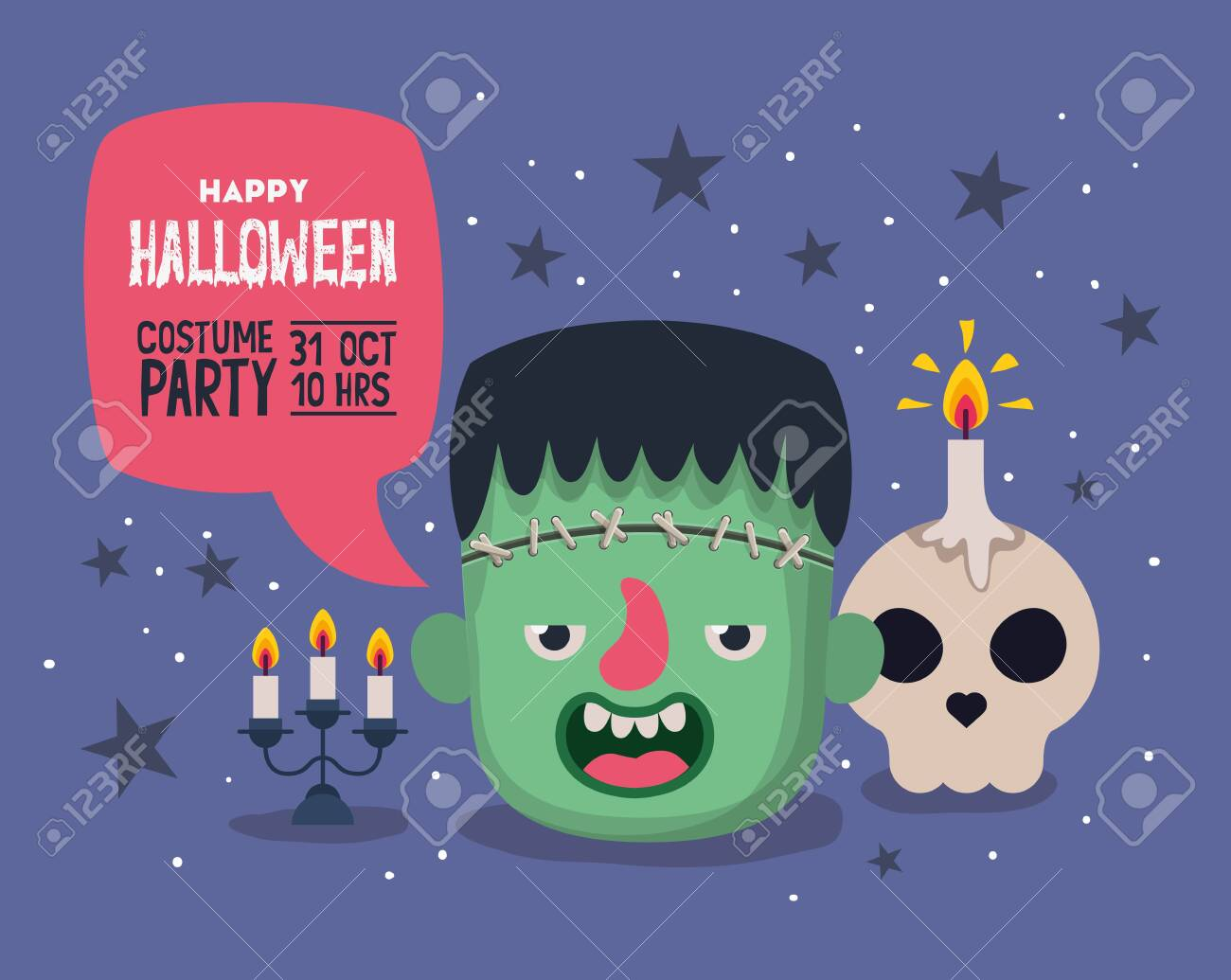 Halloween invitation card with cartoon frankestein head and skull candle over purple background, colorful design, vector illustration - 133763256