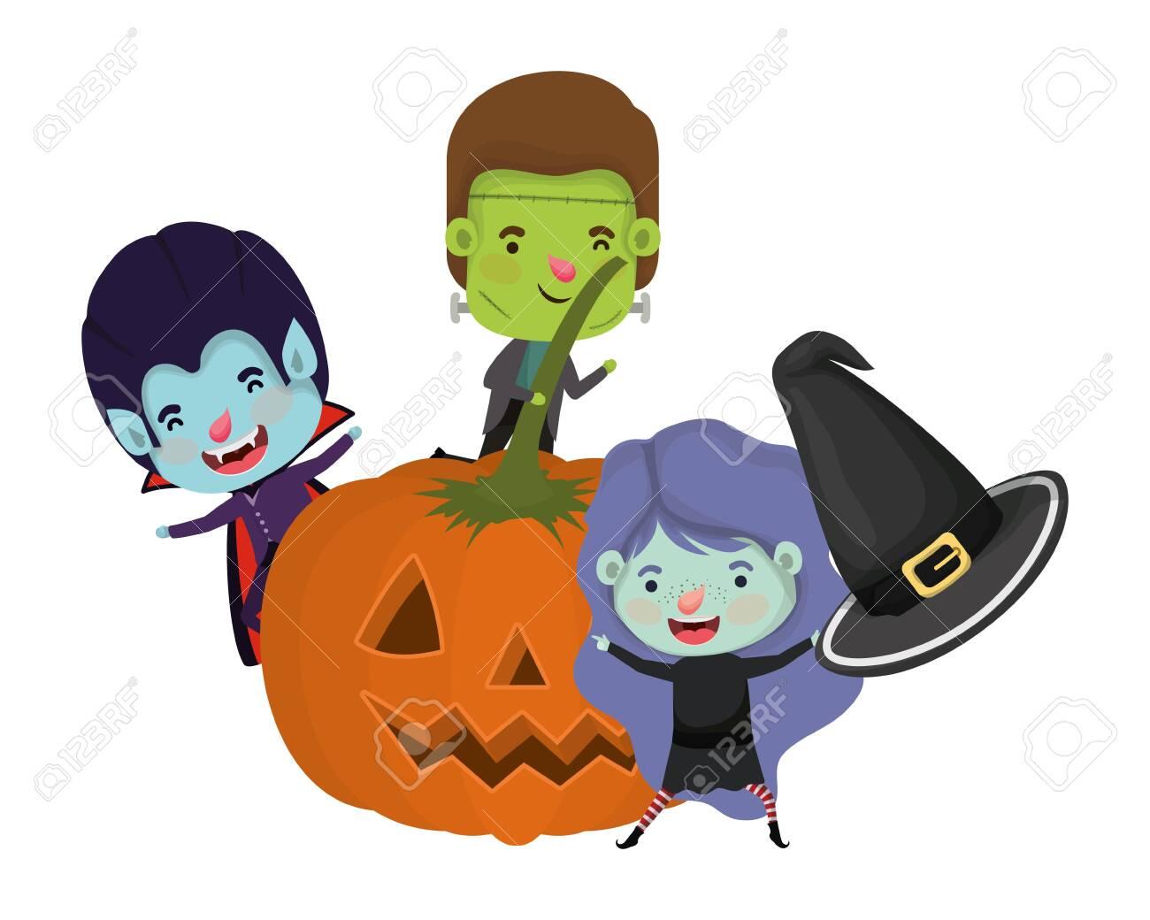 halloween pumpkin with kids costume characters vector illustration design - 133896914
