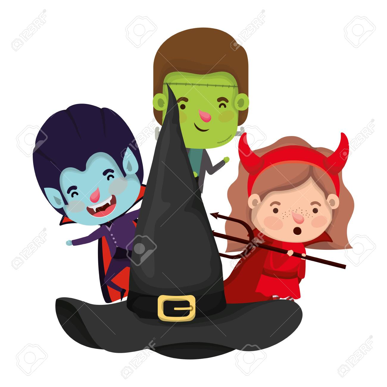 cute little kids with hat witch characters vector illustration design - 133897029