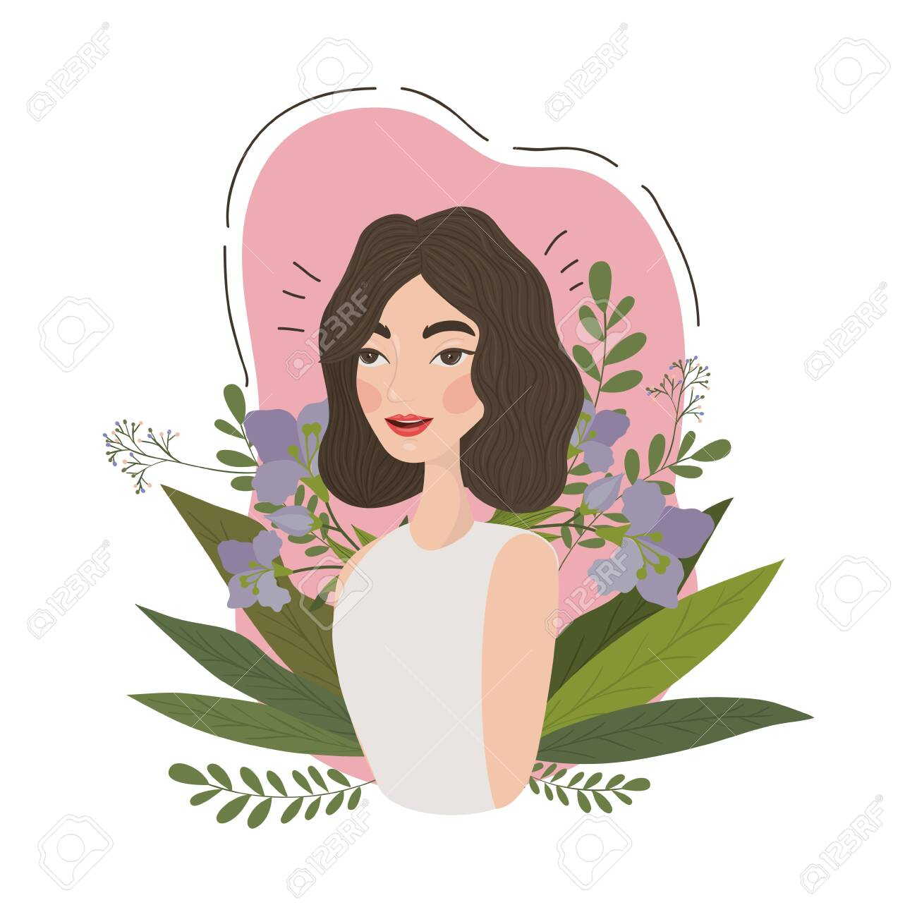 Cute Woman Cartoon Drawing Design Girl Female Person People