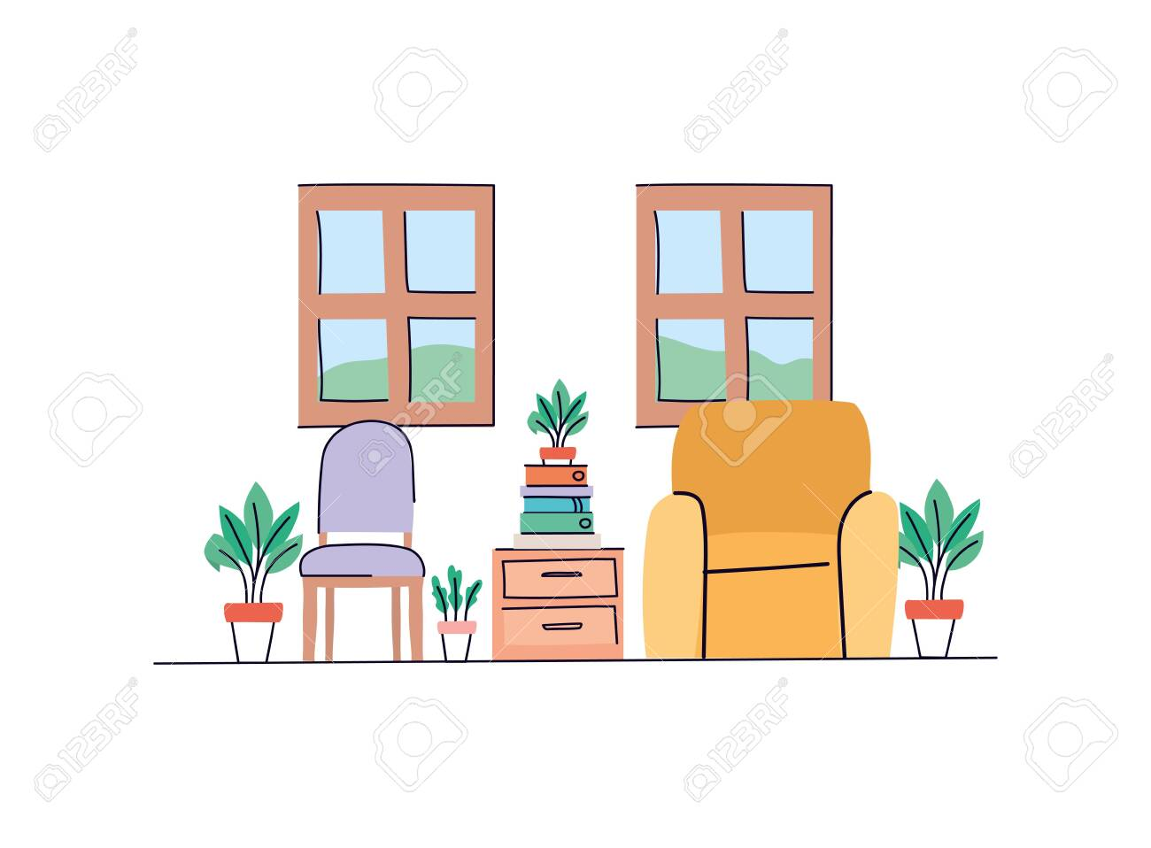 Living Room Design Home Decoration Interior Modern House Decor Living And Apartment Theme Vector Illustration Lizenzfrei Nutzbare Vektorgrafiken Clip Arts Illustrationen Image 142646252