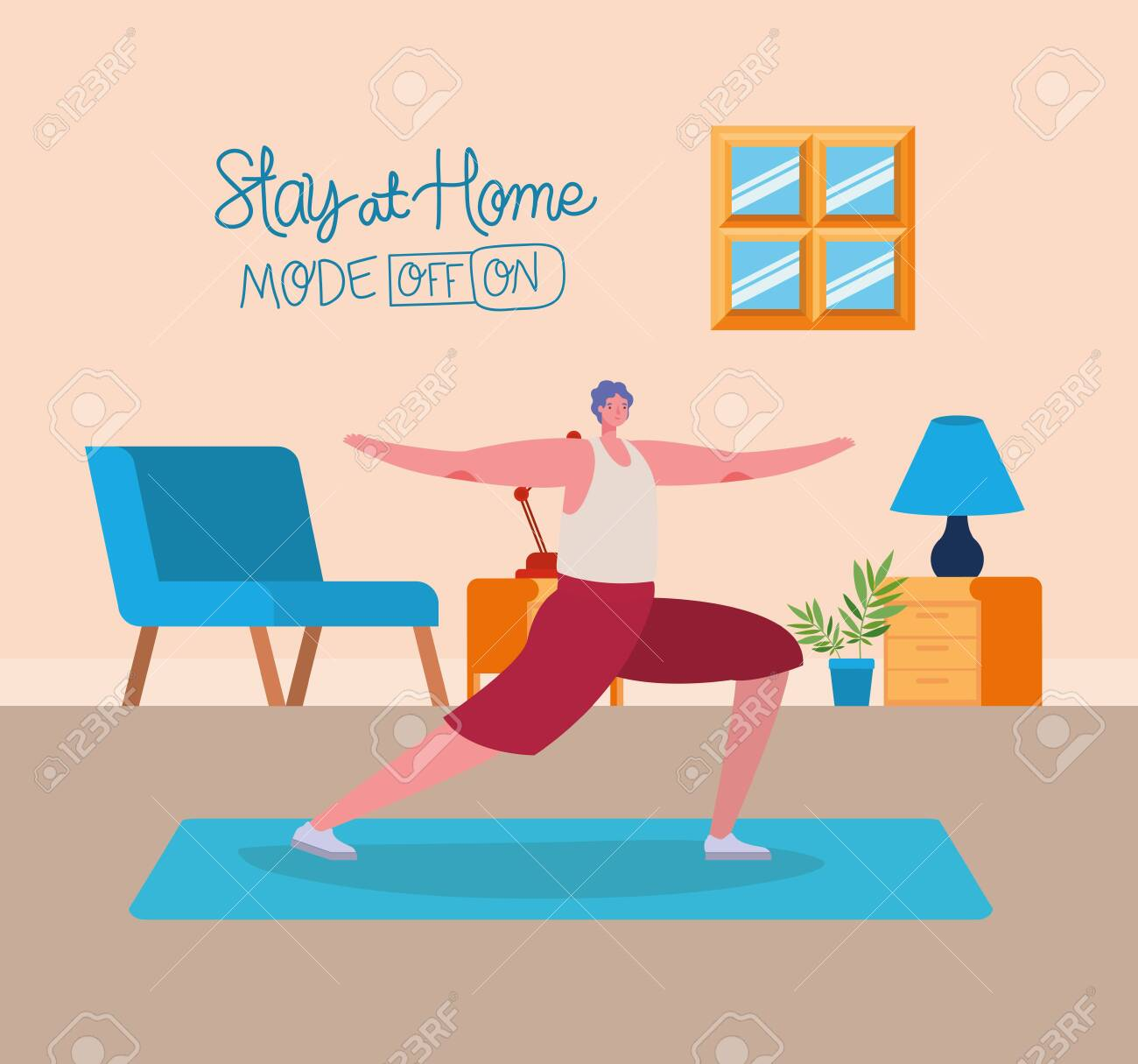 Man cartoon doing exercise design of Stay at home and activities theme Vector illustration - 149608097