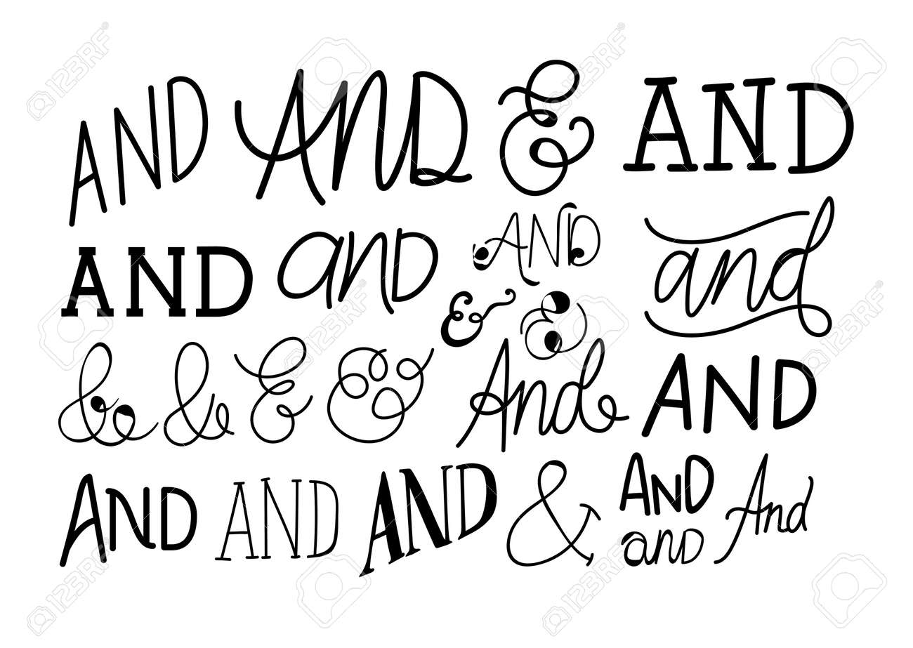 set of and catchwords in white background vector illustration design - 159705203