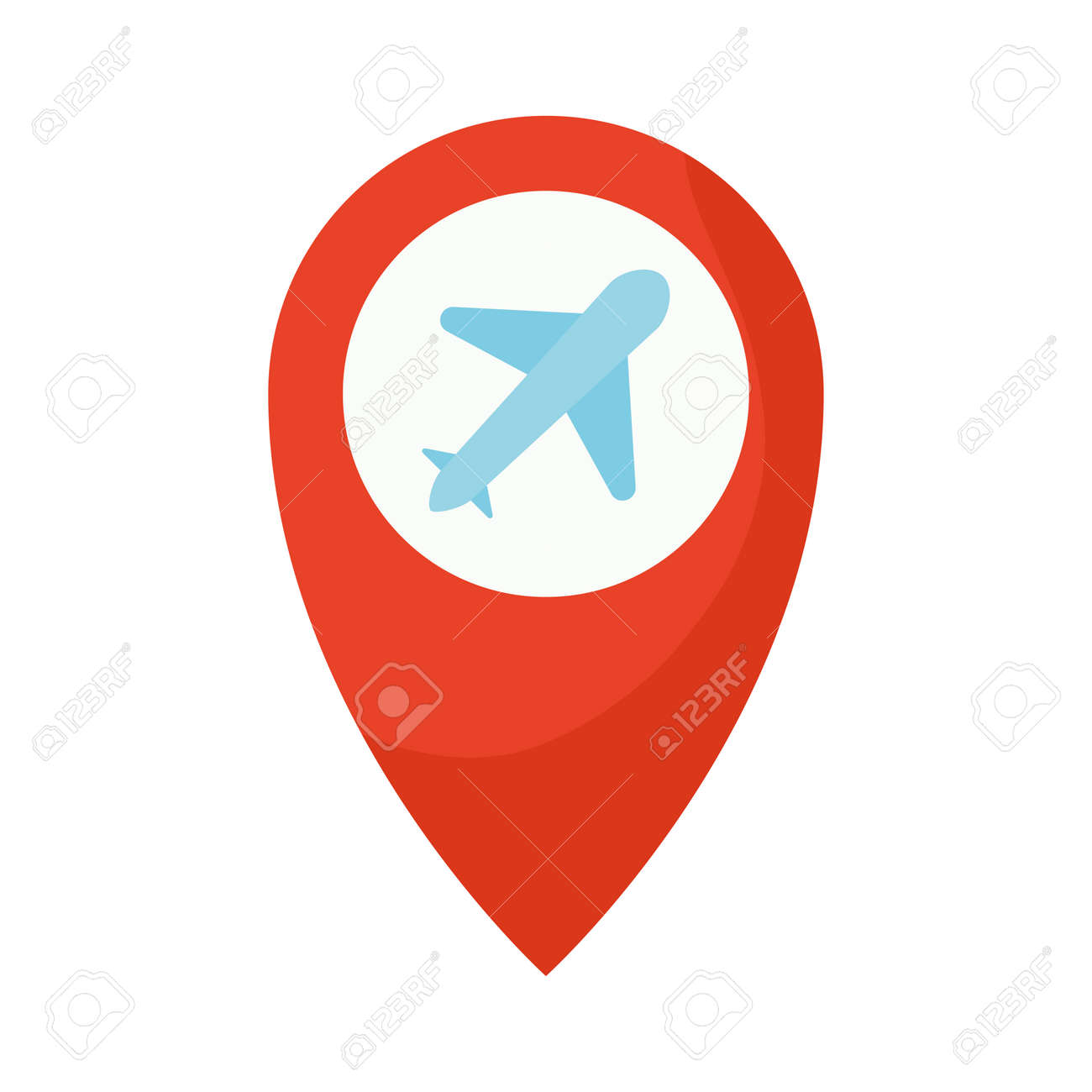 location mark with one airplane icon in it vector illustration design - 161390692