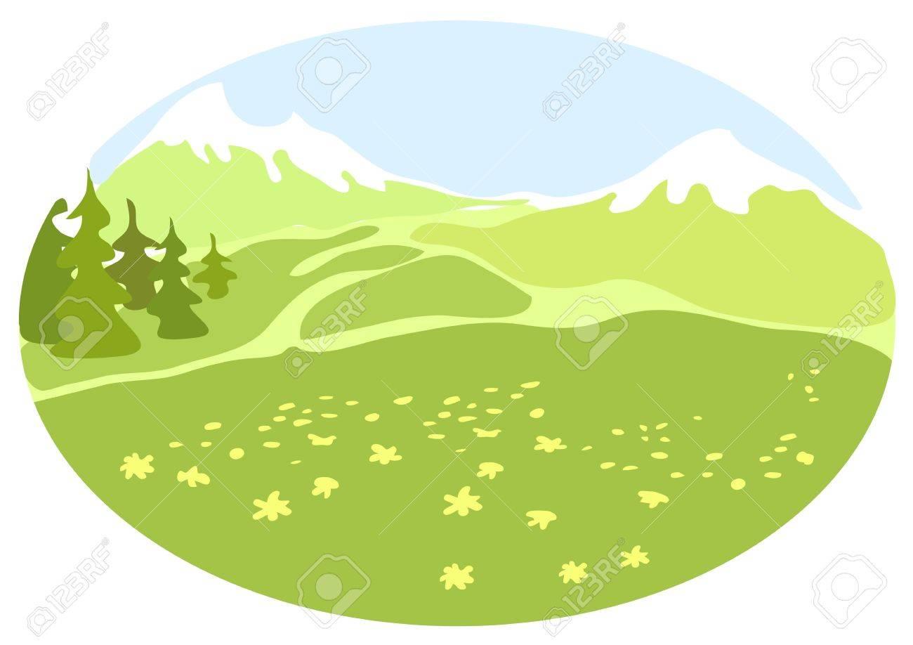 Meadow in a mountain valley. Stock Vector - 15990888