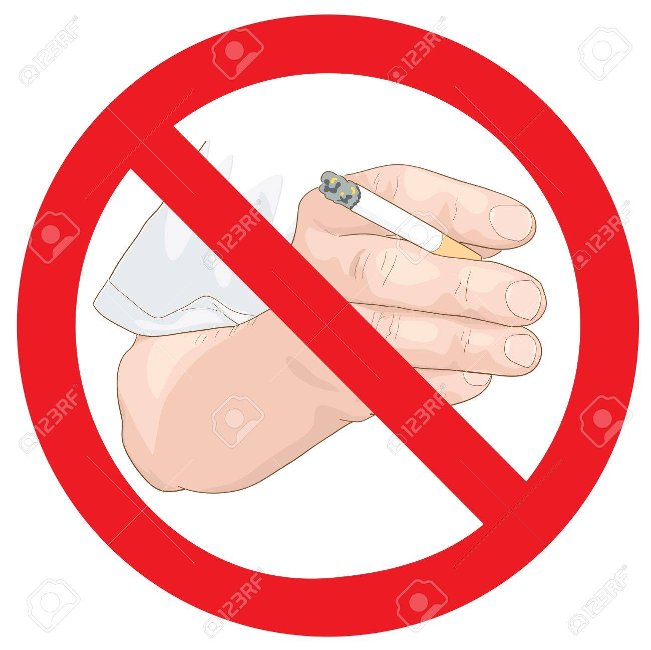 Stop smoking sign. Hand with a cigarette. Vector illustration. Stock Vector - 20407229