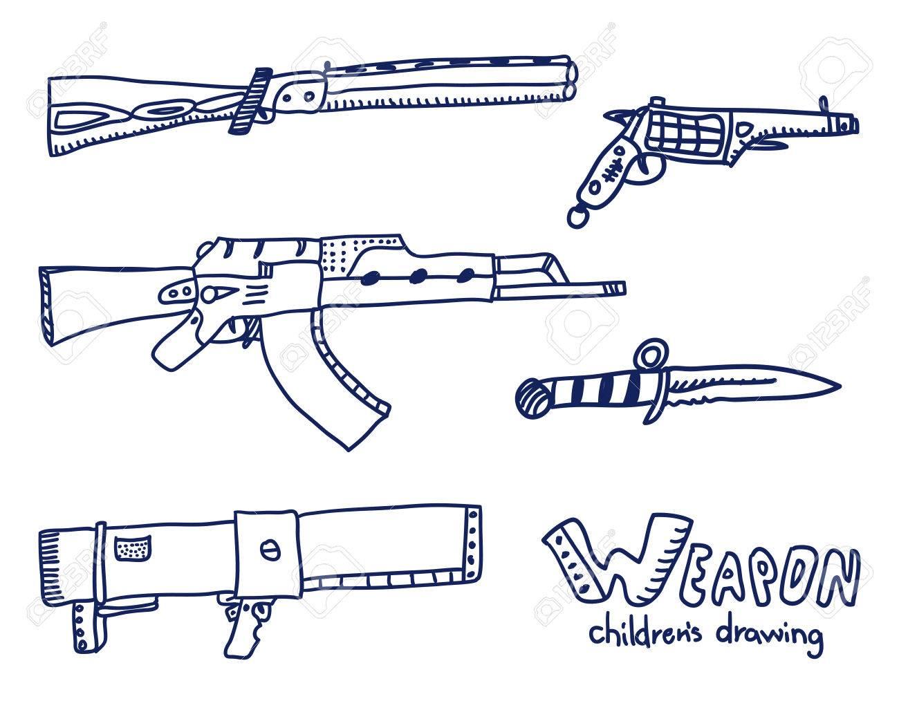 bosquejo de armas dibujo de niños reales ilustraciones vectoriales