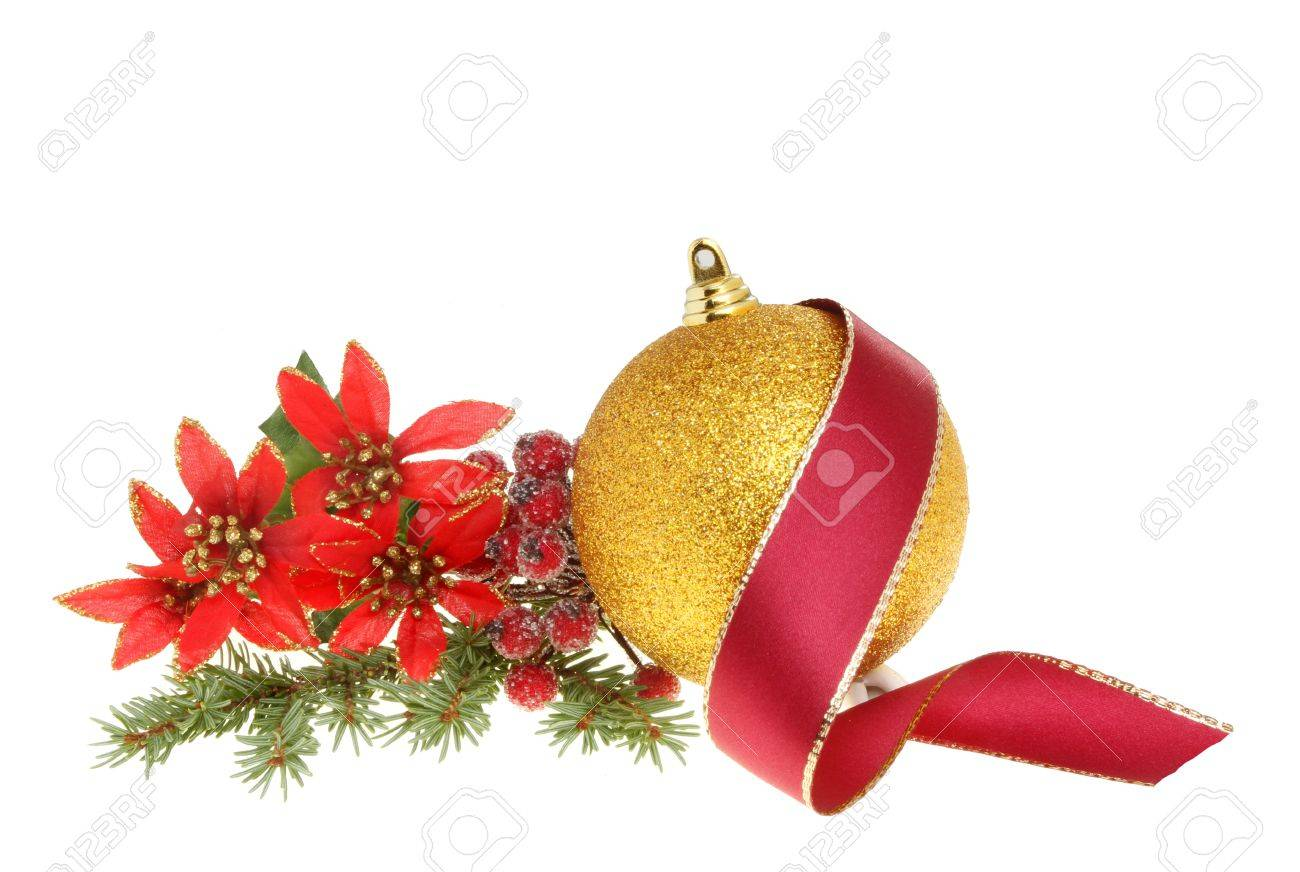 Christmas Decoration A Gold Bauble Red Ribbon And Artificial Stock Photo Picture And Royalty Free Image Image 11718224