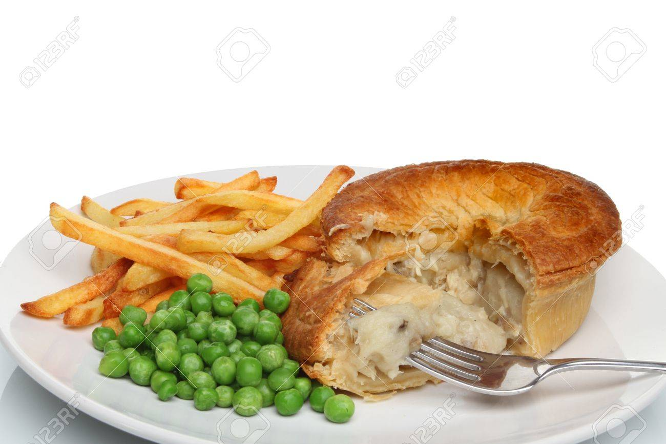 Chicken pie chips and peas on a plate with a fork Stock Photo - 16182484  sc 1 st  123RF.com & Chicken Pie Chips And Peas On A Plate With A Fork Stock Photo ...