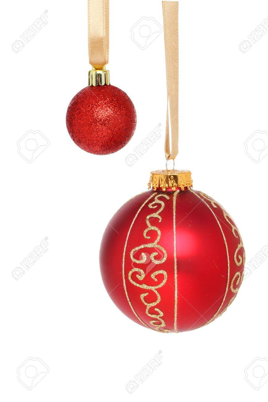 Große Rote Christbaumkugeln.Stock Photo