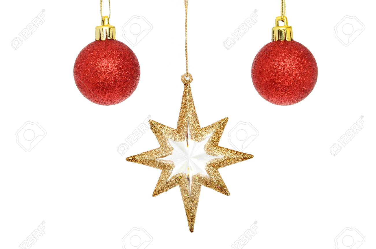 576b03f8524d Gold glitter Christmas star and red baubles isolated against white Stock  Photo - 16182367