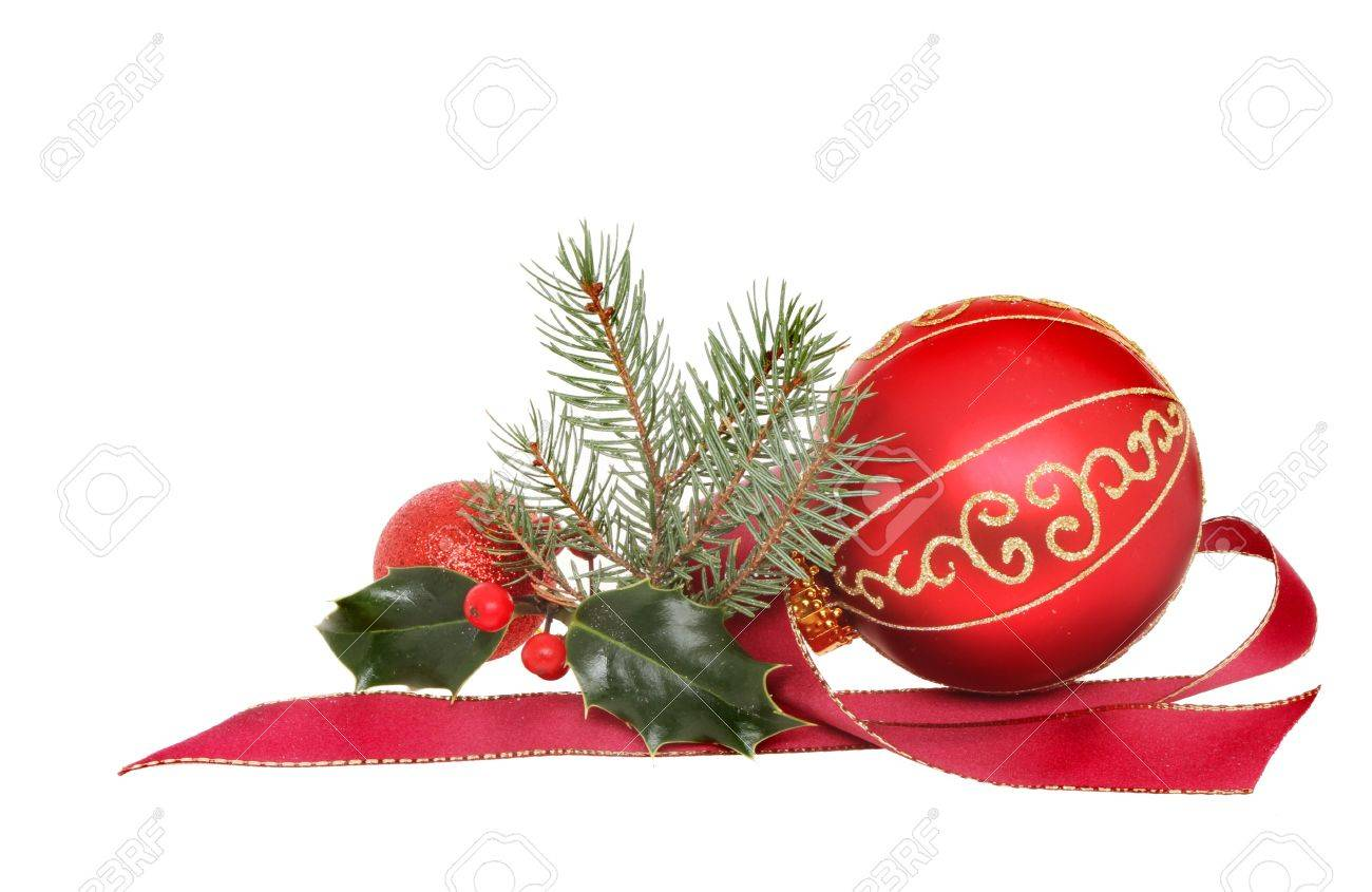 Christmas decoration, red and gold baubles with holly fir tree foliage and red ribbon isolated against white Stock Photo - 16642180