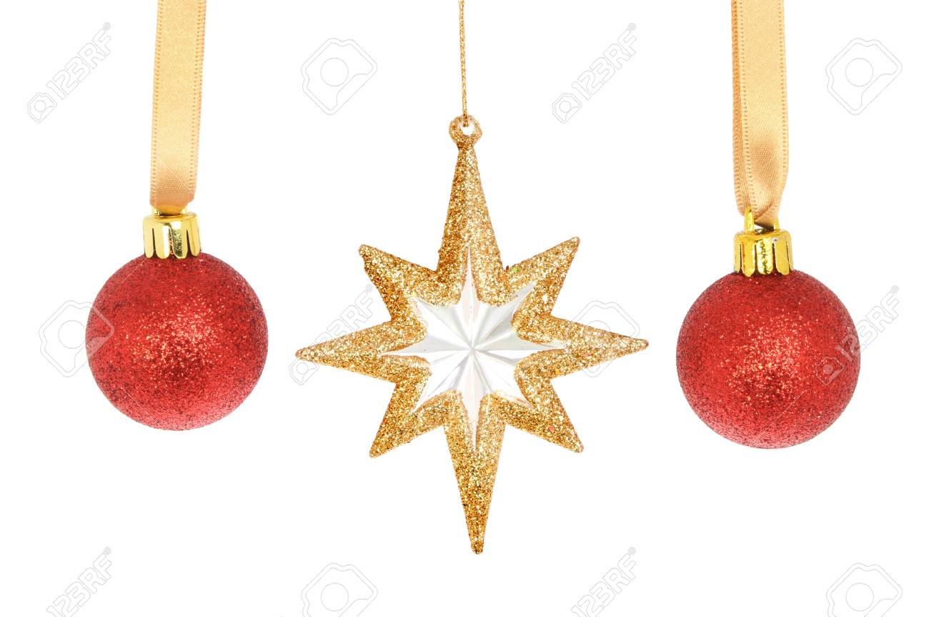 27962b491ada Red Christmas baubles and a gold glitter star isolated against white Stock  Photo - 16642165