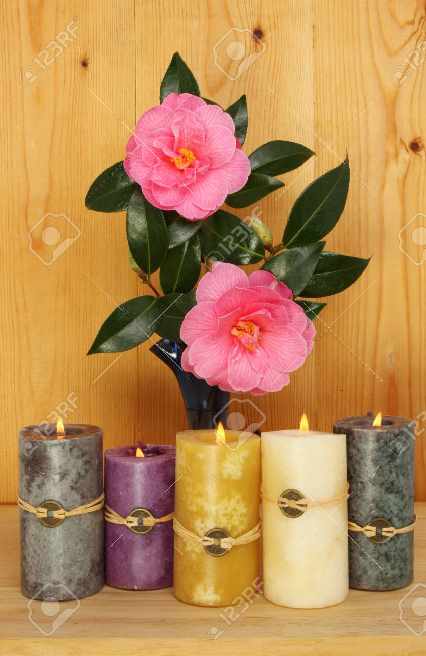 Feng Shui Kaarsen.Camellia Flowers And Foliage With Burning Feng Shui Candles Against