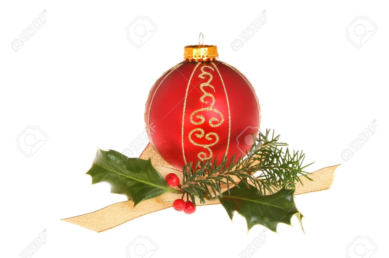 Kerstdecoraties Met Rood : Kerstversiering rood en goud glitter kerstbal met hulst