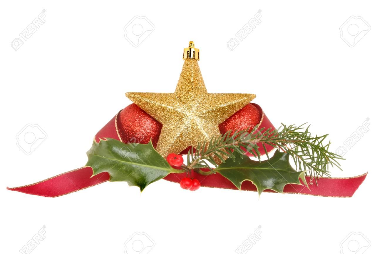 Decoración De Navidad, Estrella De Oro Con Adornos De Color Rojo ...