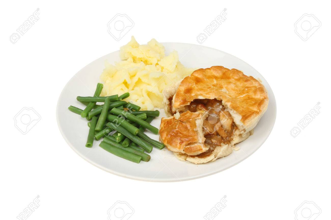 Roast chicken pie mashed potato and green beans on a plate isolated against white Stock Photo  sc 1 st  123RF.com & Roast Chicken Pie Mashed Potato And Green Beans On A Plate Isolated ...