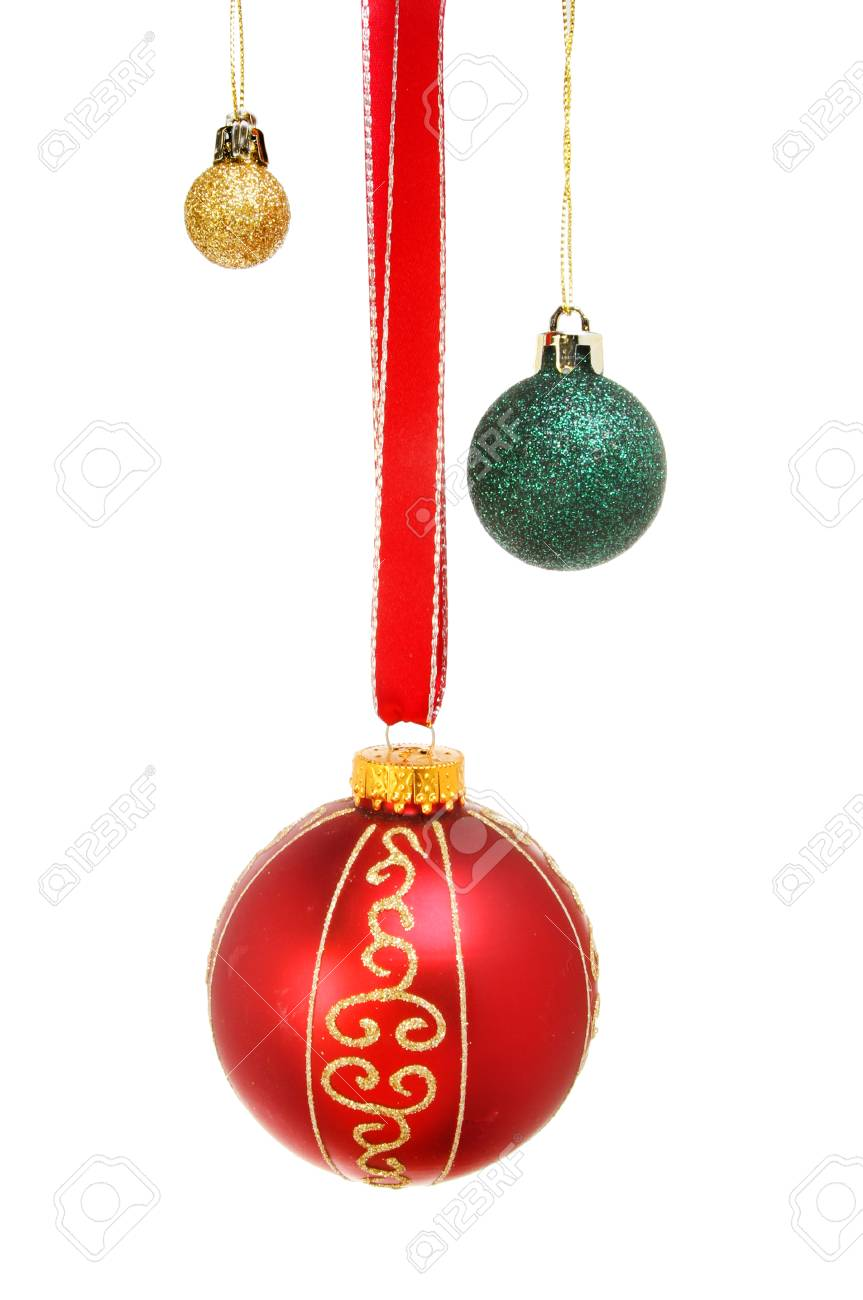 1915f94e44e4 Red, gold and green Christmas glitter baubles isolated against white Stock  Photo - 50184563