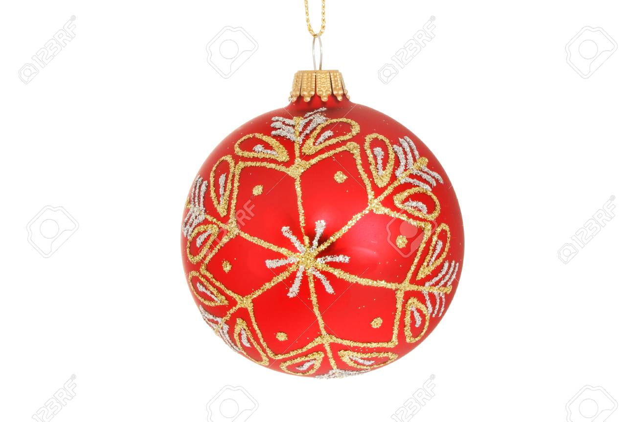 d0c9e8523356 Red, gold and silver glitter Christmas bauble isolated against white Stock  Photo - 90187866